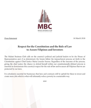 MBC Press Statement on Respect for the Constitution and the Rule of Law to Assure Filipinos and Investors