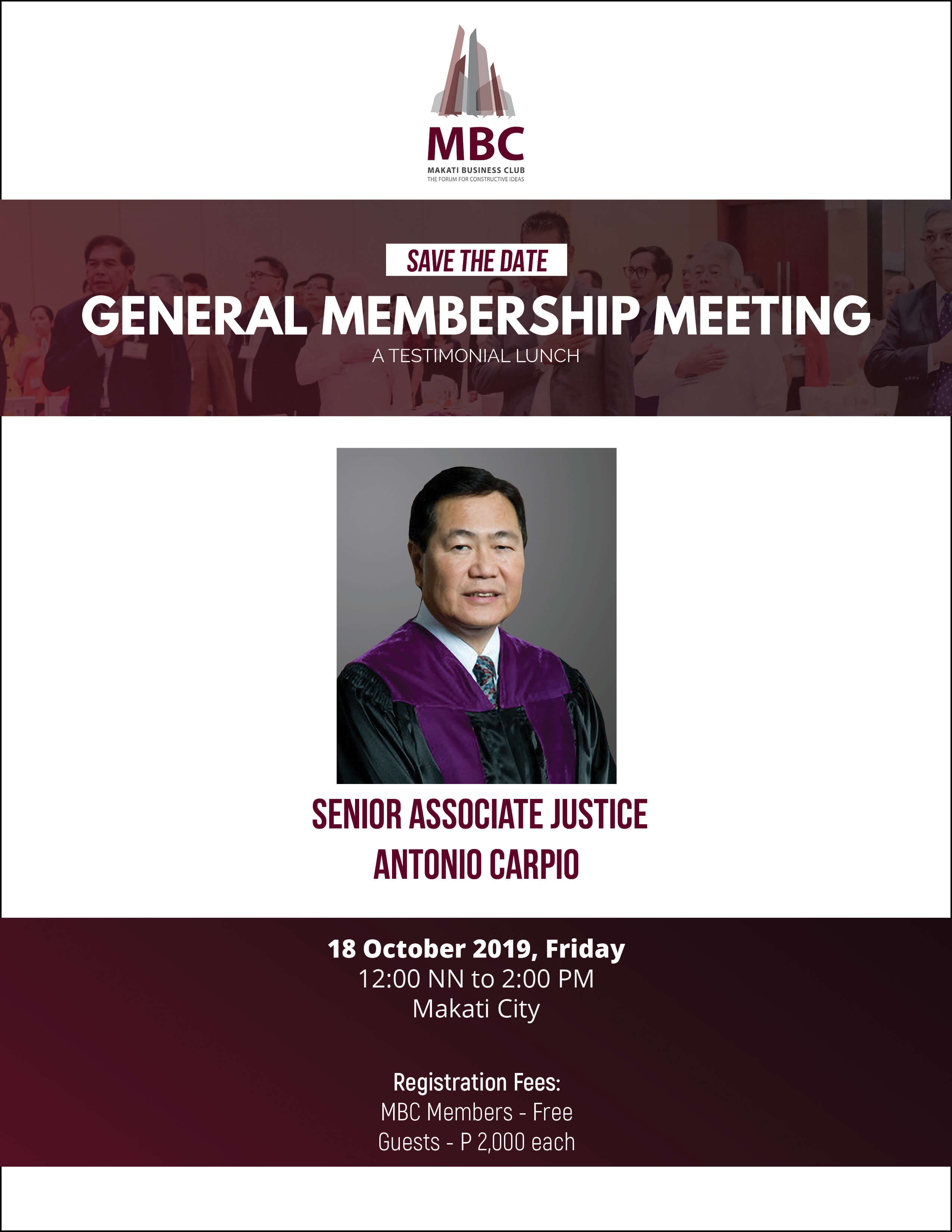 A Testimonial Lunch with Senior Associate Justice Antonio Carpio