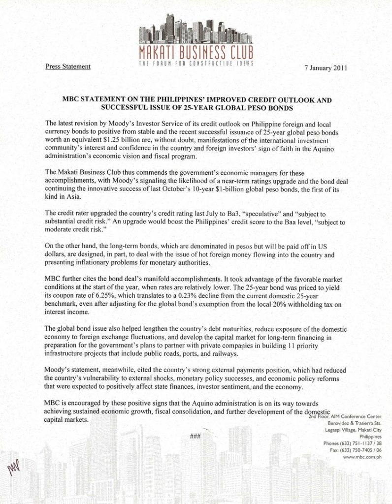 2011-01-07 MBC Statement on the Philippines' Improved Credit Outlook and Successful Issue of 25-Year Global Peso Bonds