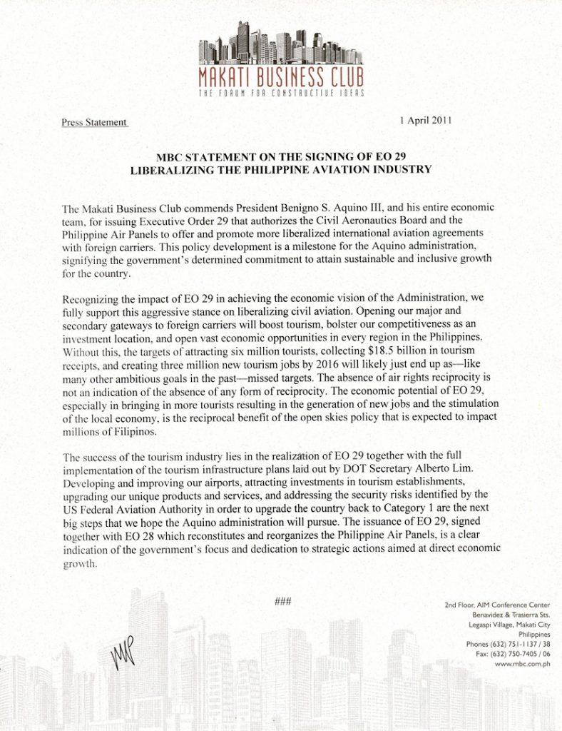 2011-04-01 MBC Statement on the Signing of EO 29 Liberalizing the Philippine Aviation Industry