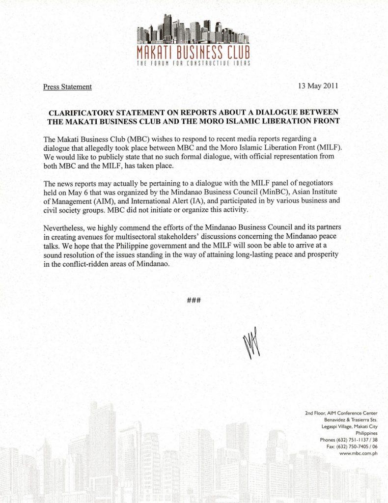 2011-05-13 Clarificatory Statement on Reports About an MBC-MILF Dialogue