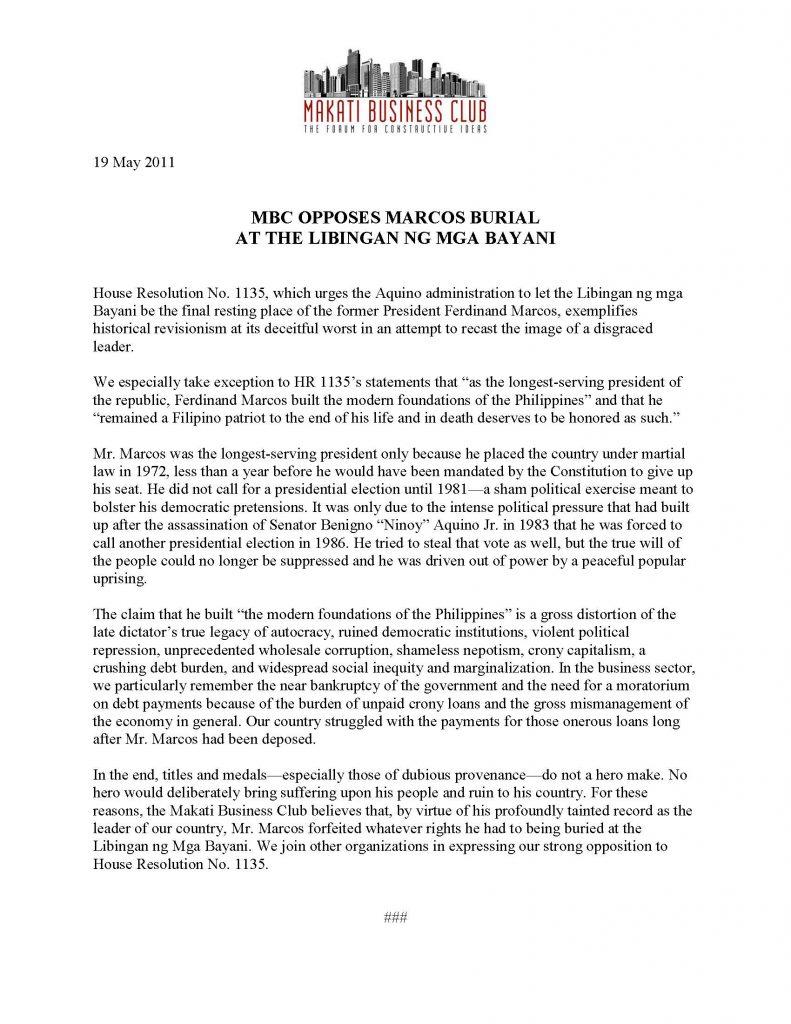 2011-05-19 MBC Opposes Marcos Burial at the Libingan ng mga Bayani