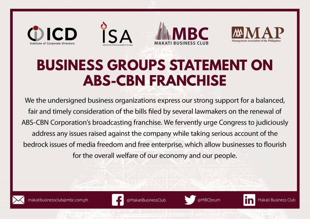 Biz Group Statement on ABS-CBN Renewal