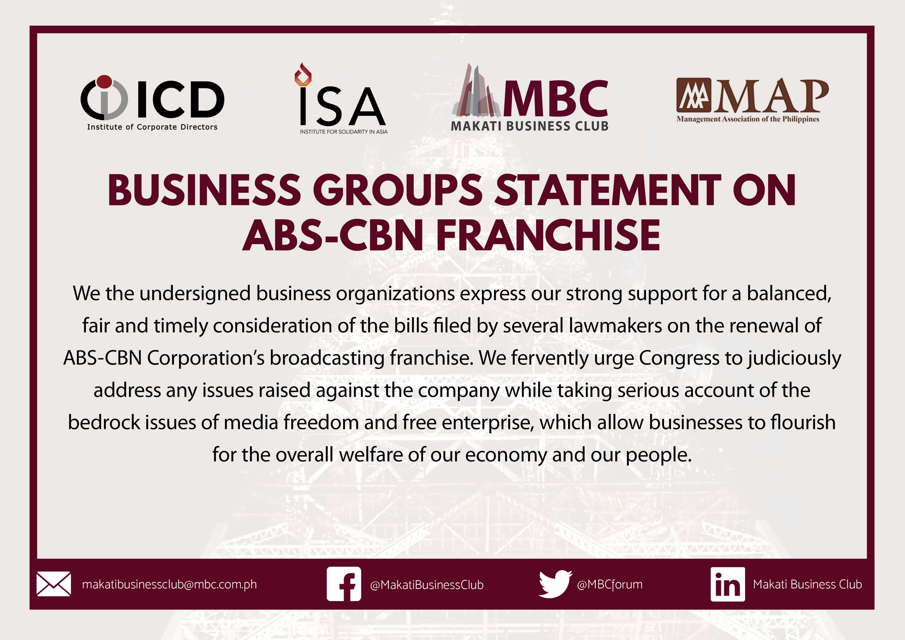 Business Groups Statement on the ABS-CBN Franchise