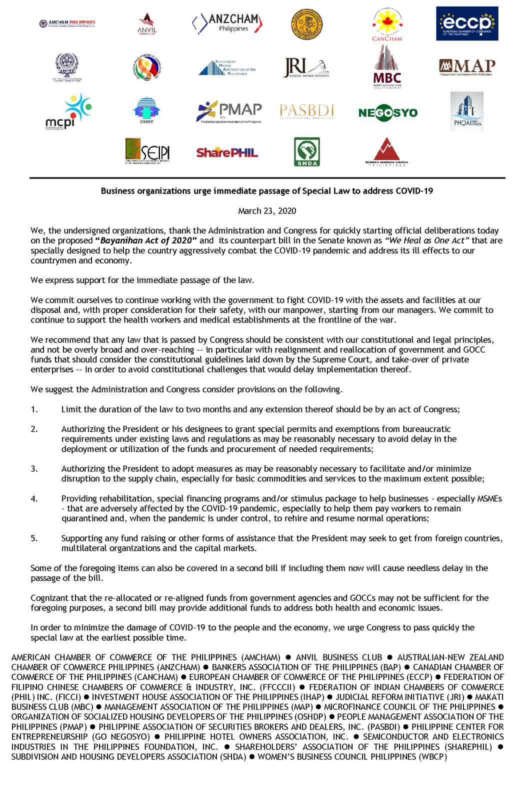 Business organizations urge immediate passage of Special Law to address COVID-19
