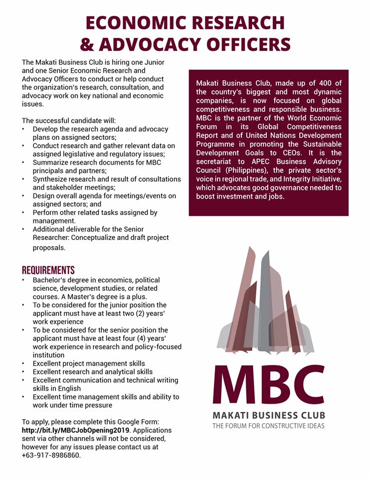 MBC Economic Research and Advocacy Officer