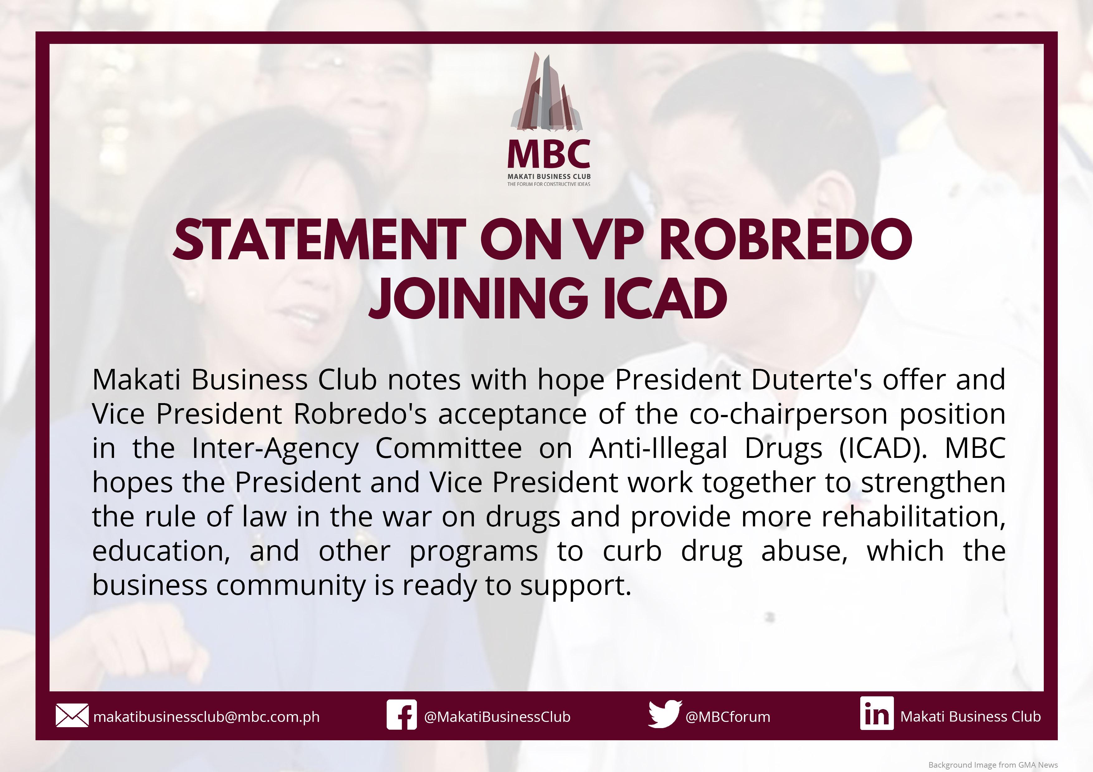 Statement on VP Robredo Joining ICAD