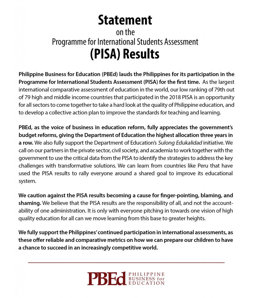 PBEd Statement on the PISA Results_4Dec2019