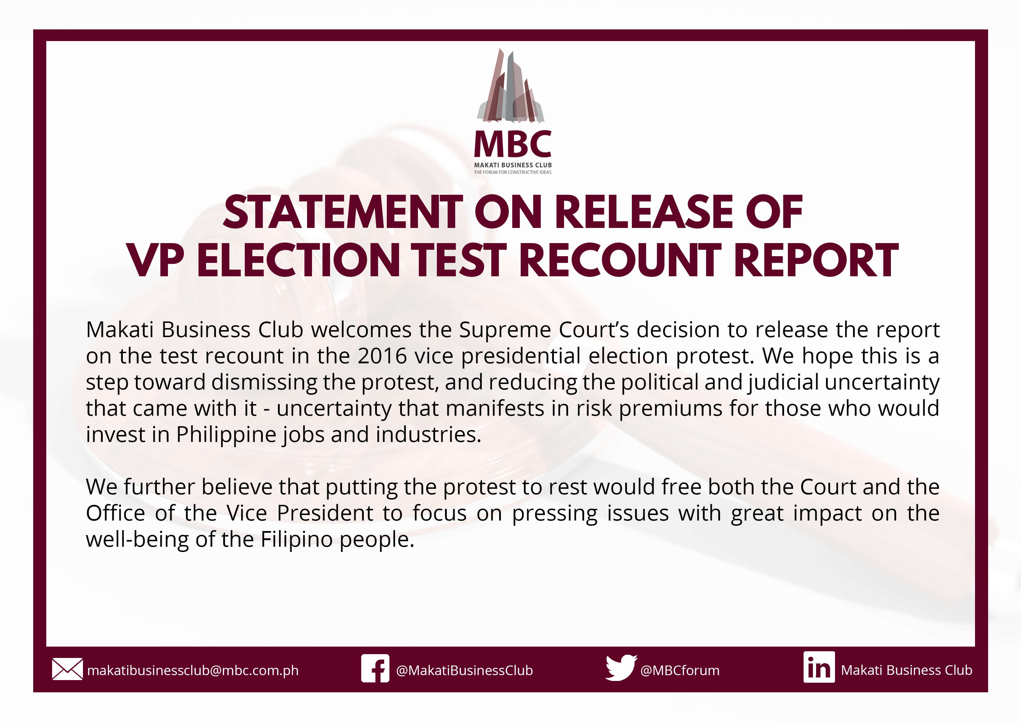 Statement on Release of VP Election Test Recount Report