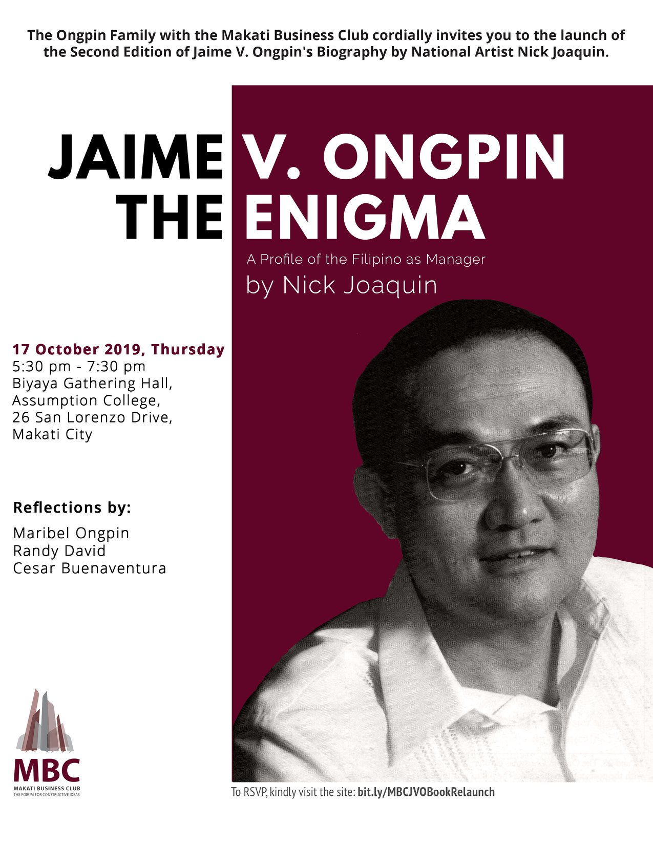 Relaunch of Jaime V. Ongpin: The Enigma (Profile of the Filipino as Manager)