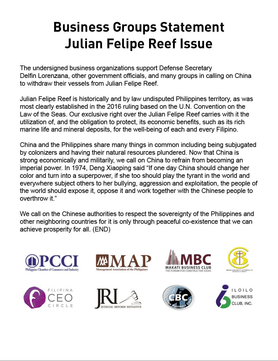 Business Groups Statement on Julian Felipe Reef Issue