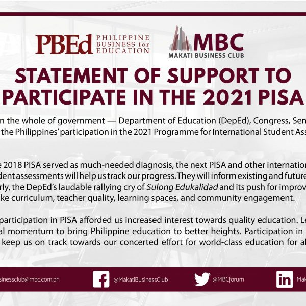 PBEd and MBC Statement of Support for 2021 PISA
