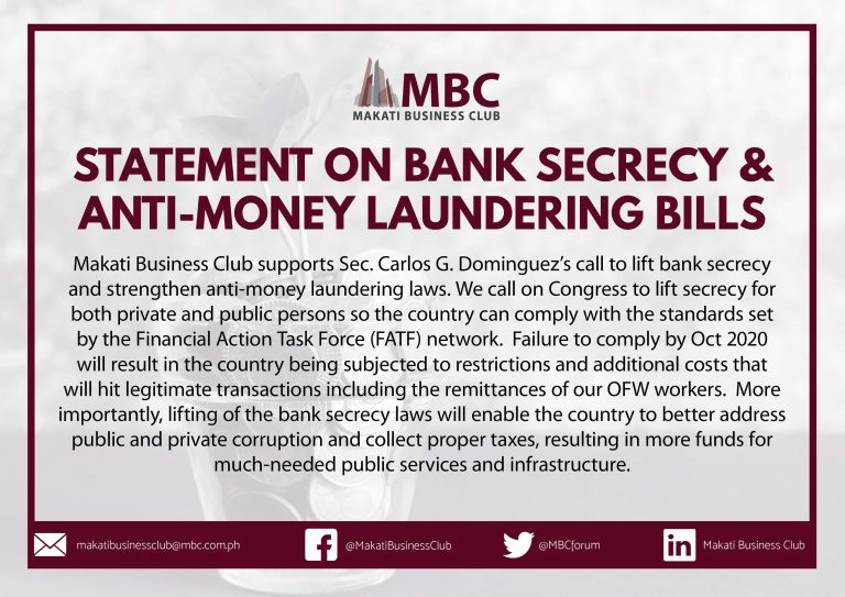 MBC Statement on Bank Secrecy and Anti-Money Laundering Bills