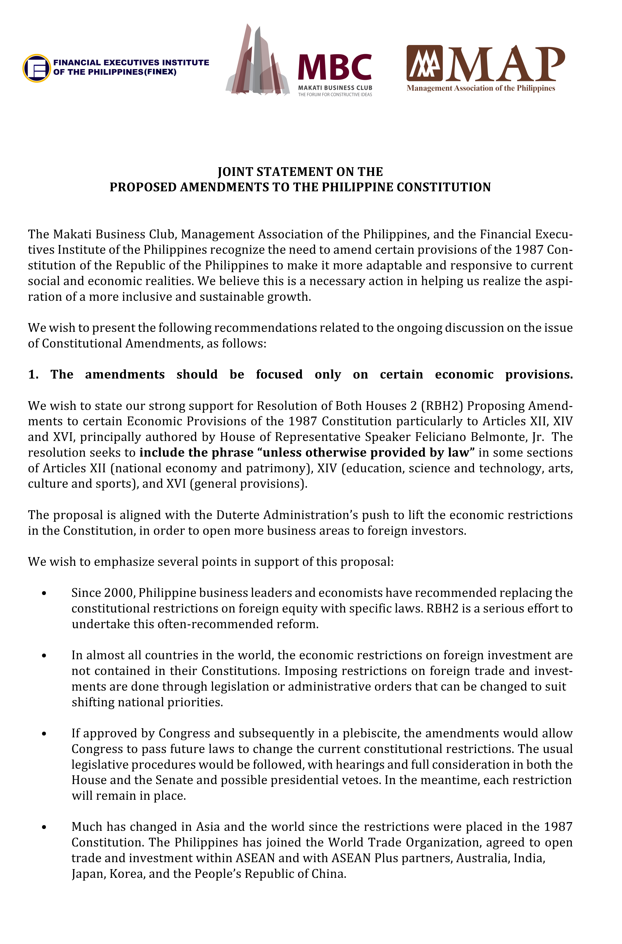 JOINT STATEMENT ON THE PROPOSED AMENDMENTS TO THE PHILIPPINE CONSTITUTION