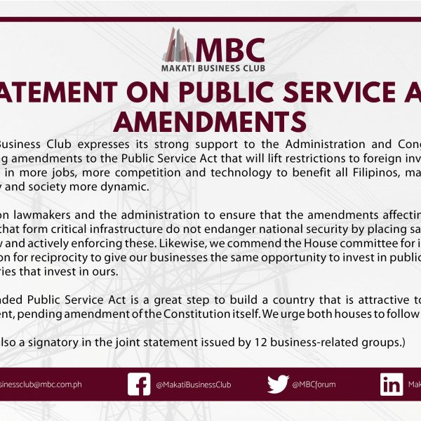 Makati Business Club Statement on Public Service Act Amendments