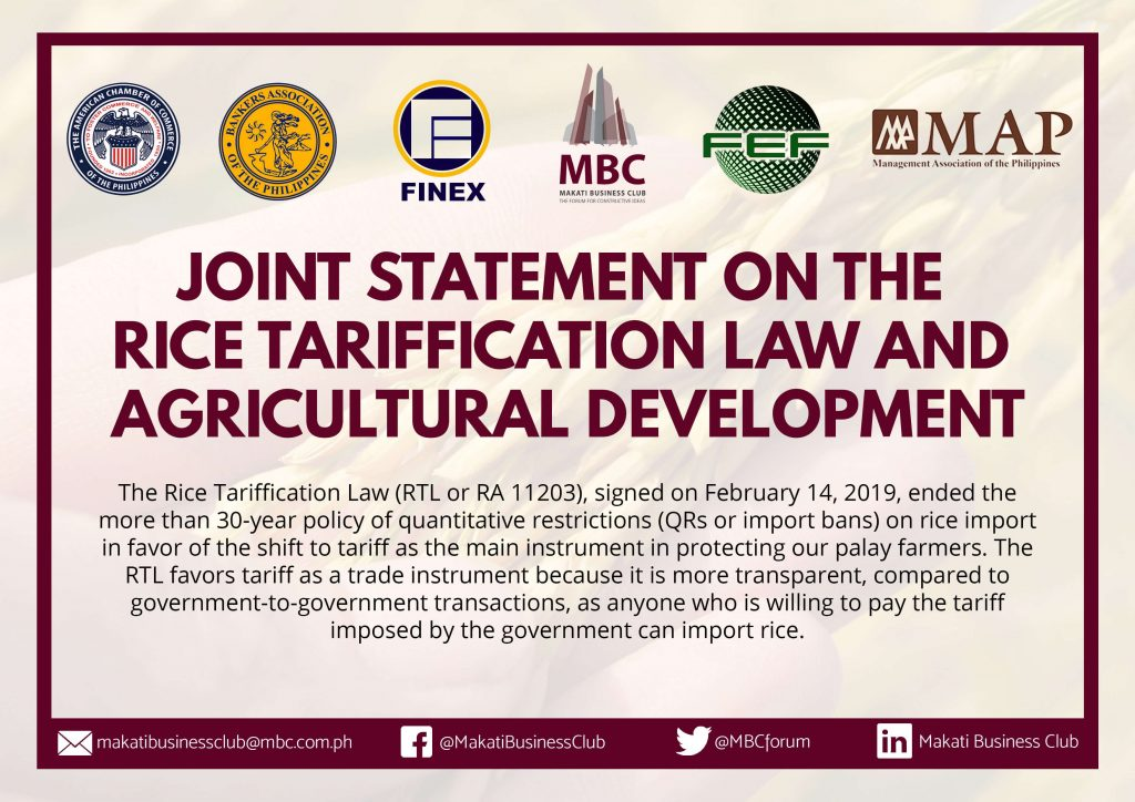 Statement on Rice Tarrification
