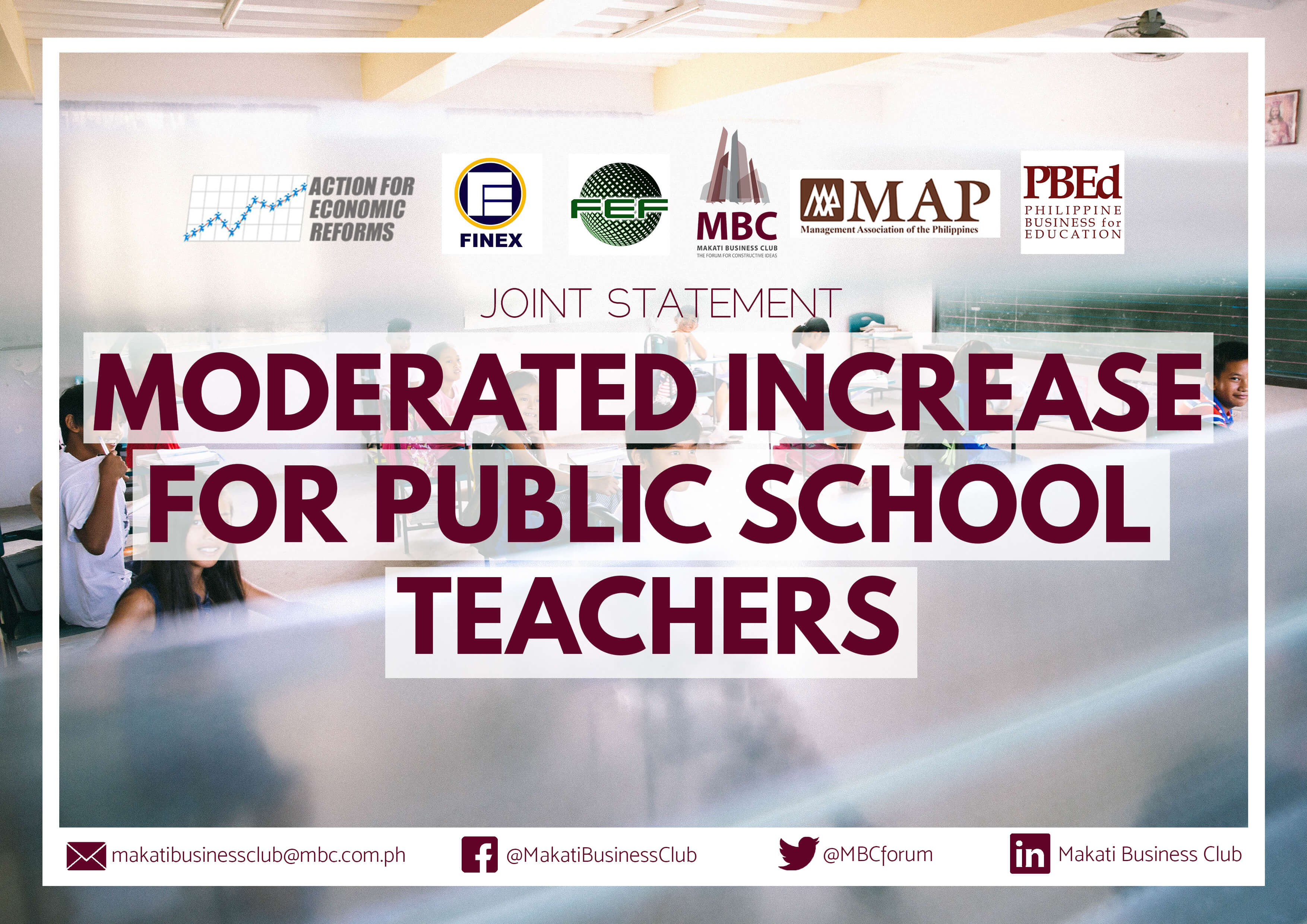 Joint Statement of Support for Moderated Increase in Pay of Public School Teachers and for Fiscal Prudence